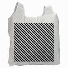 Woven2 Black Marble & White Linen Recycle Bag (one Side) by trendistuff