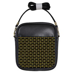 Brick1 Black Marble & Yellow Colored Pencil (r) Girls Sling Bags by trendistuff