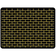 Brick1 Black Marble & Yellow Colored Pencil (r) Double Sided Fleece Blanket (large)  by trendistuff