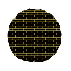 Brick1 Black Marble & Yellow Colored Pencil (r) Standard 15  Premium Flano Round Cushions by trendistuff