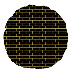 Brick1 Black Marble & Yellow Colored Pencil (r) Large 18  Premium Flano Round Cushions by trendistuff