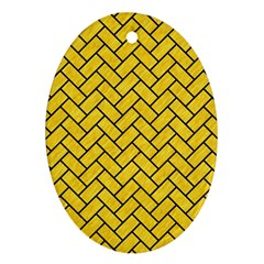Brick2 Black Marble & Yellow Colored Pencil Ornament (oval) by trendistuff