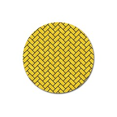 Brick2 Black Marble & Yellow Colored Pencil Magnet 3  (round) by trendistuff