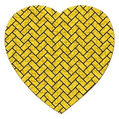 Brick2 Black Marble & Yellow Colored Pencil Jigsaw Puzzle (heart) by trendistuff