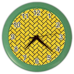 Brick2 Black Marble & Yellow Colored Pencil Color Wall Clocks by trendistuff