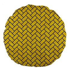 Brick2 Black Marble & Yellow Colored Pencil Large 18  Premium Flano Round Cushions by trendistuff