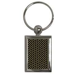 Brick2 Black Marble & Yellow Colored Pencil (r) Key Chains (rectangle)  by trendistuff