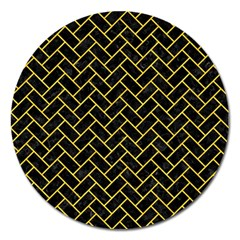 Brick2 Black Marble & Yellow Colored Pencil (r) Magnet 5  (round) by trendistuff