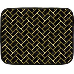 Brick2 Black Marble & Yellow Colored Pencil (r) Fleece Blanket (mini) by trendistuff