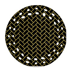 Brick2 Black Marble & Yellow Colored Pencil (r) Round Filigree Ornament (two Sides)