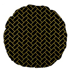 Brick2 Black Marble & Yellow Colored Pencil (r) Large 18  Premium Flano Round Cushions by trendistuff