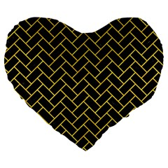Brick2 Black Marble & Yellow Colored Pencil (r) Large 19  Premium Flano Heart Shape Cushions by trendistuff