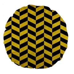 Chevron1 Black Marble & Yellow Colored Pencil Large 18  Premium Flano Round Cushions by trendistuff