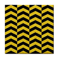 Chevron2 Black Marble & Yellow Colored Pencil Tile Coasters by trendistuff