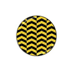 Chevron2 Black Marble & Yellow Colored Pencil Hat Clip Ball Marker by trendistuff