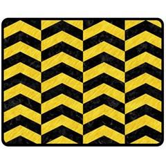 Chevron2 Black Marble & Yellow Colored Pencil Fleece Blanket (medium)  by trendistuff