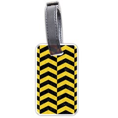 Chevron2 Black Marble & Yellow Colored Pencil Luggage Tags (two Sides) by trendistuff