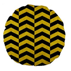 Chevron2 Black Marble & Yellow Colored Pencil Large 18  Premium Flano Round Cushions by trendistuff