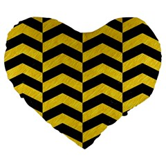 Chevron2 Black Marble & Yellow Colored Pencil Large 19  Premium Flano Heart Shape Cushions by trendistuff
