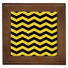 Chevron3 Black Marble & Yellow Colored Pencil Framed Tiles by trendistuff