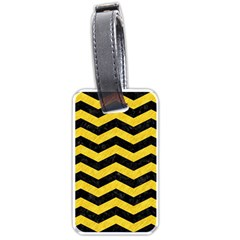Chevron3 Black Marble & Yellow Colored Pencil Luggage Tags (two Sides) by trendistuff