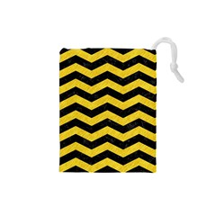 Chevron3 Black Marble & Yellow Colored Pencil Drawstring Pouches (small)  by trendistuff