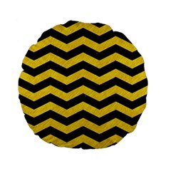 Chevron3 Black Marble & Yellow Colored Pencil Standard 15  Premium Flano Round Cushions by trendistuff