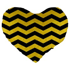 Chevron3 Black Marble & Yellow Colored Pencil Large 19  Premium Flano Heart Shape Cushions by trendistuff