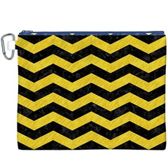 Chevron3 Black Marble & Yellow Colored Pencil Canvas Cosmetic Bag (xxxl) by trendistuff