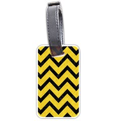 Chevron9 Black Marble & Yellow Colored Pencil Luggage Tags (two Sides) by trendistuff
