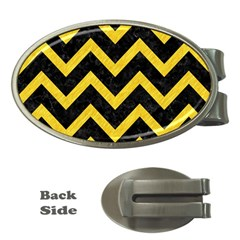 Chevron9 Black Marble & Yellow Colored Pencil (r) Money Clips (oval)  by trendistuff
