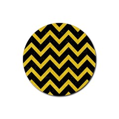 Chevron9 Black Marble & Yellow Colored Pencil (r) Rubber Coaster (round)