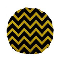 Chevron9 Black Marble & Yellow Colored Pencil (r) Standard 15  Premium Flano Round Cushions by trendistuff