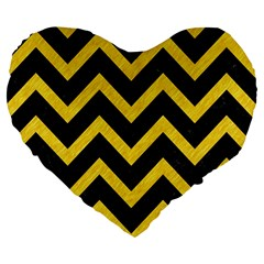 Chevron9 Black Marble & Yellow Colored Pencil (r) Large 19  Premium Flano Heart Shape Cushions by trendistuff