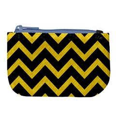 Chevron9 Black Marble & Yellow Colored Pencil (r) Large Coin Purse