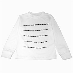 Barbed Wire Black Kids Long Sleeve T Shirts by Mariart
