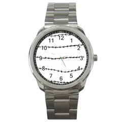 Barbed Wire Black Sport Metal Watch by Mariart