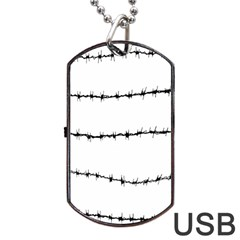 Barbed Wire Black Dog Tag Usb Flash (two Sides) by Mariart