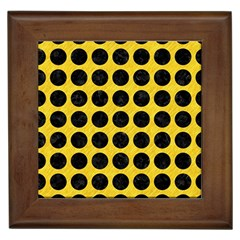Circles1 Black Marble & Yellow Colored Pencil Framed Tiles by trendistuff
