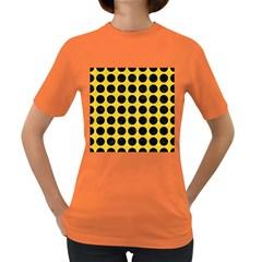 Circles1 Black Marble & Yellow Colored Pencil Women s Dark T Shirt