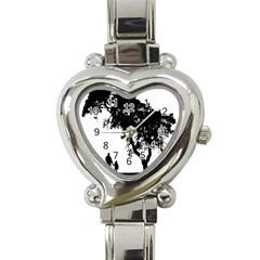 Black Father Daughter Natural Hill Heart Italian Charm Watch by Mariart