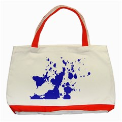 Blue Plaint Splatter Classic Tote Bag (red) by Mariart