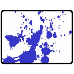 Blue Plaint Splatter Double Sided Fleece Blanket (large)  by Mariart