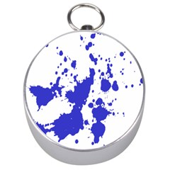 Blue Plaint Splatter Silver Compasses by Mariart