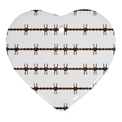 Barbed Wire Brown Heart Ornament (two Sides) by Mariart