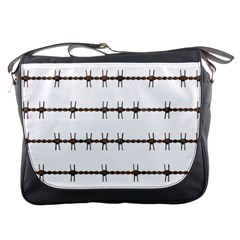 Barbed Wire Brown Messenger Bags by Mariart