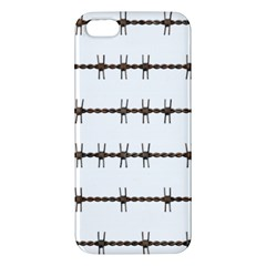 Barbed Wire Brown Apple Iphone 5 Premium Hardshell Case by Mariart