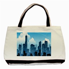 City Building Blue Sky Basic Tote Bag by Mariart