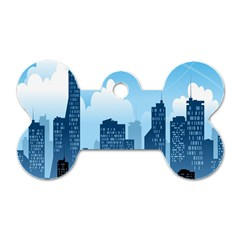 City Building Blue Sky Dog Tag Bone (one Side) by Mariart