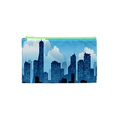 City Building Blue Sky Cosmetic Bag (xs) by Mariart